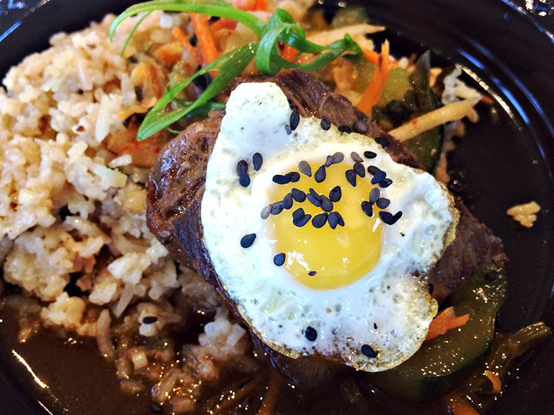 Braised beef short rib with Kimchi fried rice and quail's egg